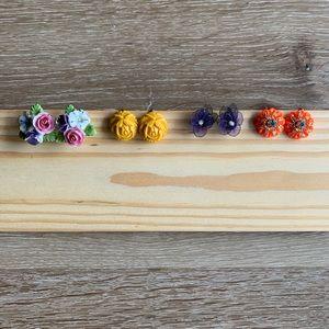 |VINTAGE| 4 sets floral screw-back earrings